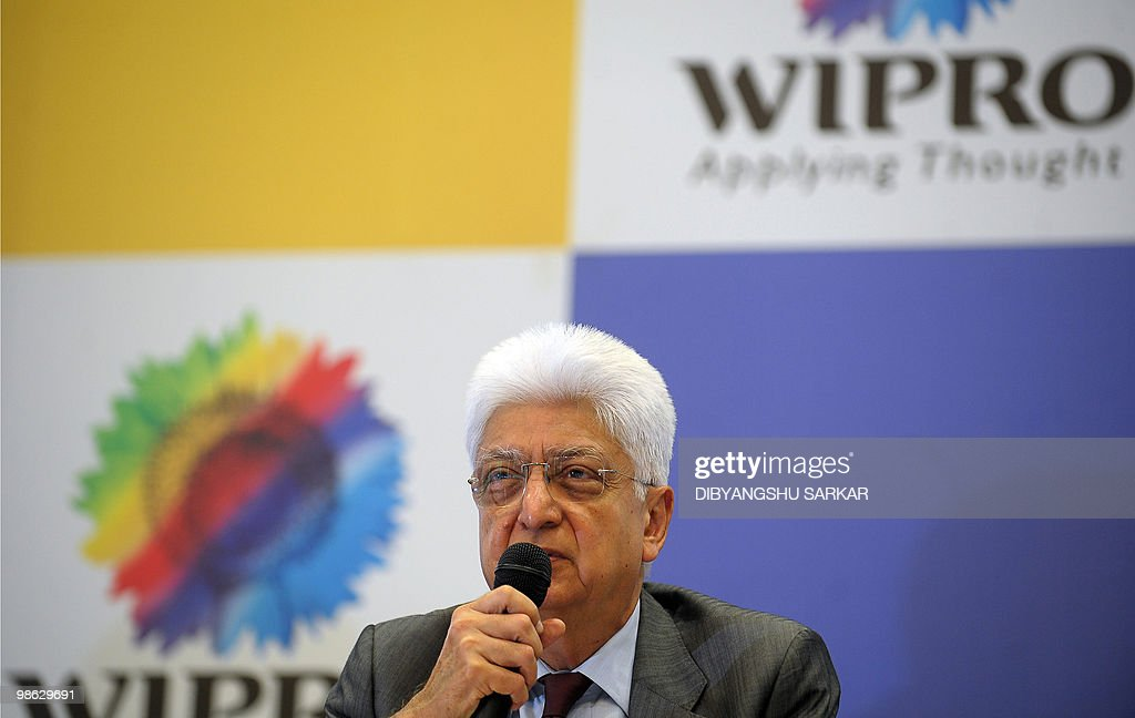 Chairman of Indian software company Wipro, Azim Premji gestures as he announces company financial results at the Wipro campus in Bangalore on April 23, 2010. Wipro announced that fourth-quarter net profit rose more than a fifth as the firm bagged several large deals amid a broad uptick for the sector. Net profit for the three months to March was 12.09 billion Indian Rupees (270 million USD), up 21 percent from 10.01 billion rupees the previous year under international accounting norms. Analysts had forecast a net profit of 12 billion rupees for the Bangalore-based outsourcing firm. AFP PHOTO/Dibyangshu SARKAR