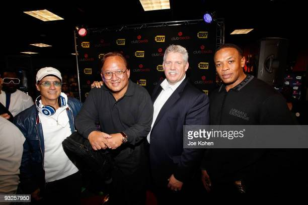 Chairman of Interscope Geffen AM Records Jimmy Lovine Monster cable founder Noel Lee Best Buy CEO Brian Dunn and musician Dr Dre attend the Club...