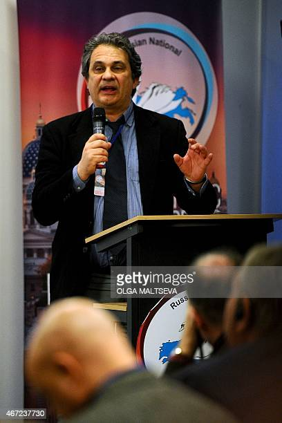 Chairman of Italy's party 'New Force' Roberto Fiore speaks during the International Russian Conservative Forum in SaintPetersburg on March 22 2015...