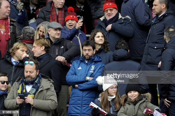 Chairman of Juventus Andrea Agnelli during the serie A match between Torino FC and Juventus at Stadio Olimpico di Torino on February 18 2018 in Turin...