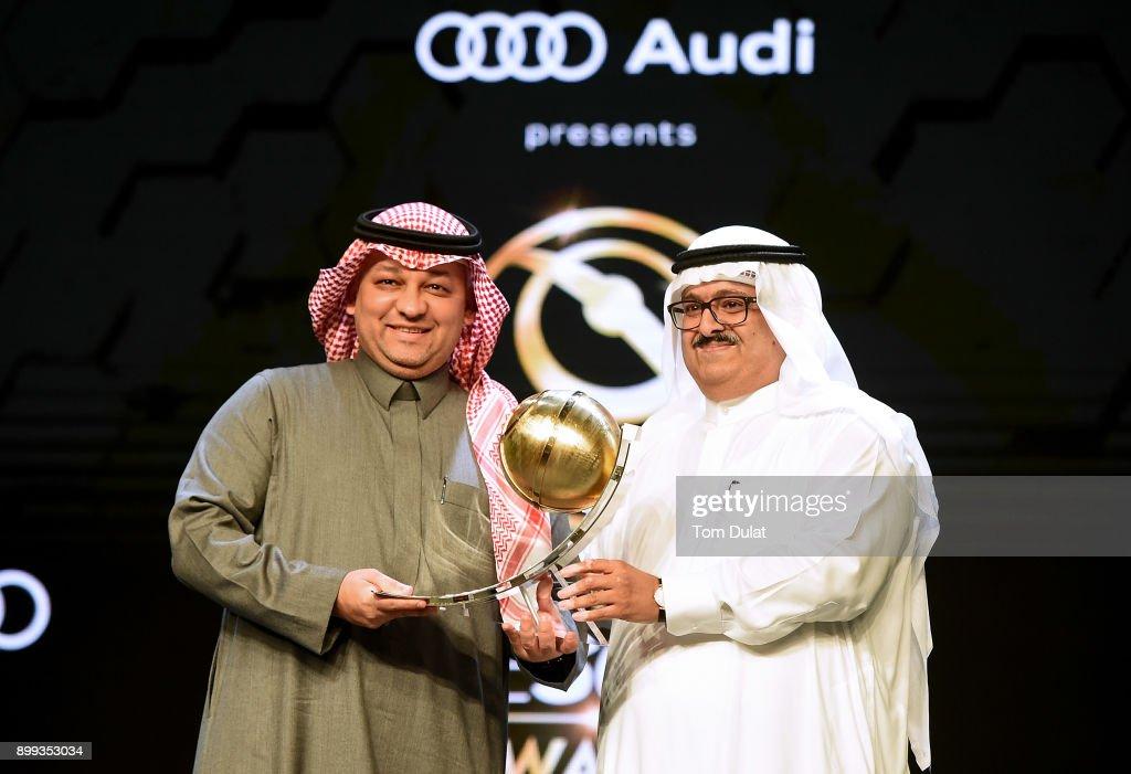 Chairman of Kooora, Khalid Al Doseri presents Abdul Elah Ben Matouq, General Secretary of Saudi Football Association with Kooora Best Arab National Team Award during the Globe Soccer Awards 2017 on December 28, 2017 in Dubai, United Arab Emirates.
