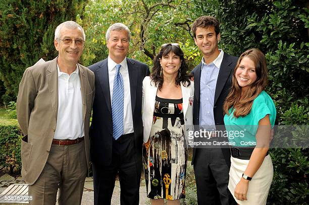 Chairman of Lacoste SA Michel Lacoste Chairman and CEO of JP Morgan Chase Jamie Dimon his wife Judith Kent Dimon their daughter and a friend attend...