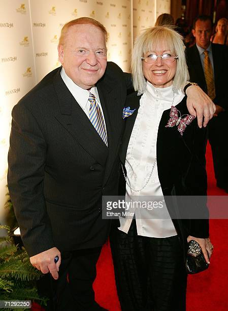 Chairman of Las Vegas Sands Corp Sheldon Adelson arrives with his wife Dr Miriam Adelson for the opening night of Phantom The Las Vegas Spectacular...