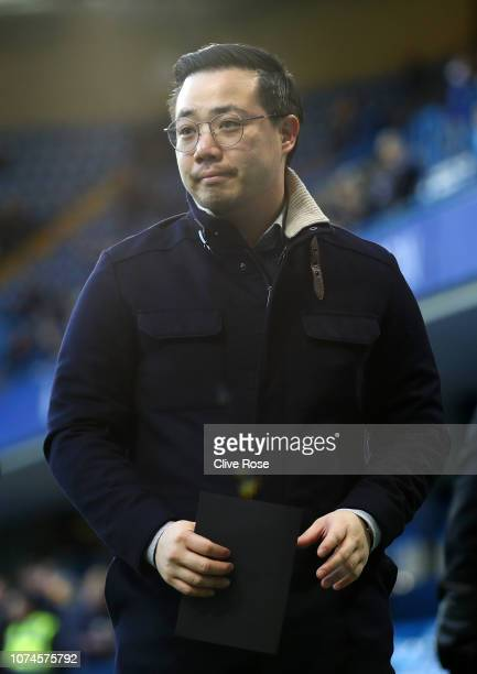 Chairman of Leicester City Aiyawatt Srivaddhanaprabha looks on prior to the Premier League match between Chelsea FC and Leicester City at Stamford...