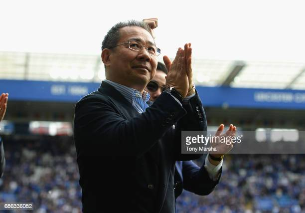 Chairman of Leicester City Vichai Srivaddhanaprabh aapplauds the fans after the Premier League match between Leicester City and AFC Bournemouth at...