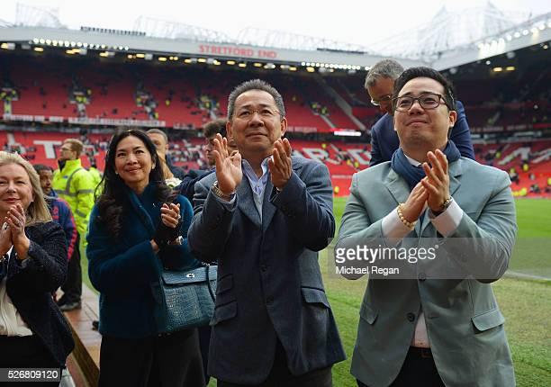 Chairman of Leicester City Vichai Srivaddhanaprabha and son Aiyawatt Srivaddhanaprabha acknowledge the fans after the Barclays Premier League match...