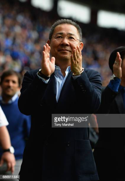 Chairman of Leicester City Vichai Srivaddhanaprabhaapplauds the fans after the Premier League match between Leicester City and AFC Bournemouth at The...