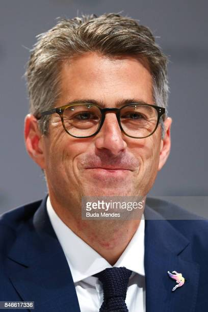 Chairman of Los Angeles 2028 Casey Wasserman smiles questions to media during a joint press conference between IOC Paris 2024 and LA2028 during...