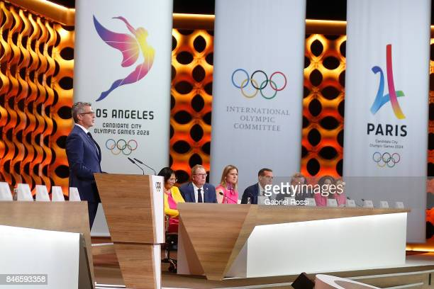 Chairman of Los Angeles 2028 Casey Wasserman talks to the public during the LA2028 presentation during the 131th IOC Session 2024 2028 Olympics Hosts...