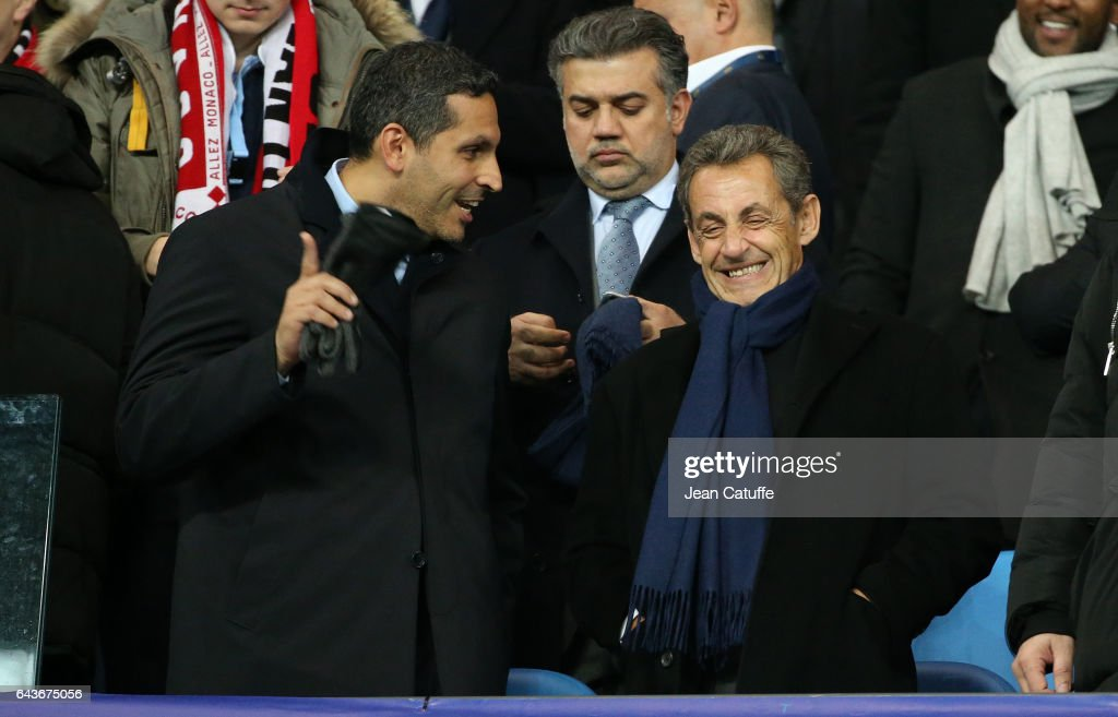 Chairman of Manchester City Khaldoon Al Mubarak and former French President Nicolas Sarkozy attend the UEFA Champions League Round of 16 first leg match between Manchester City FC and AS Monaco at Etihad Stadium on February 21, 2017 in Manchester, United Kingdom.