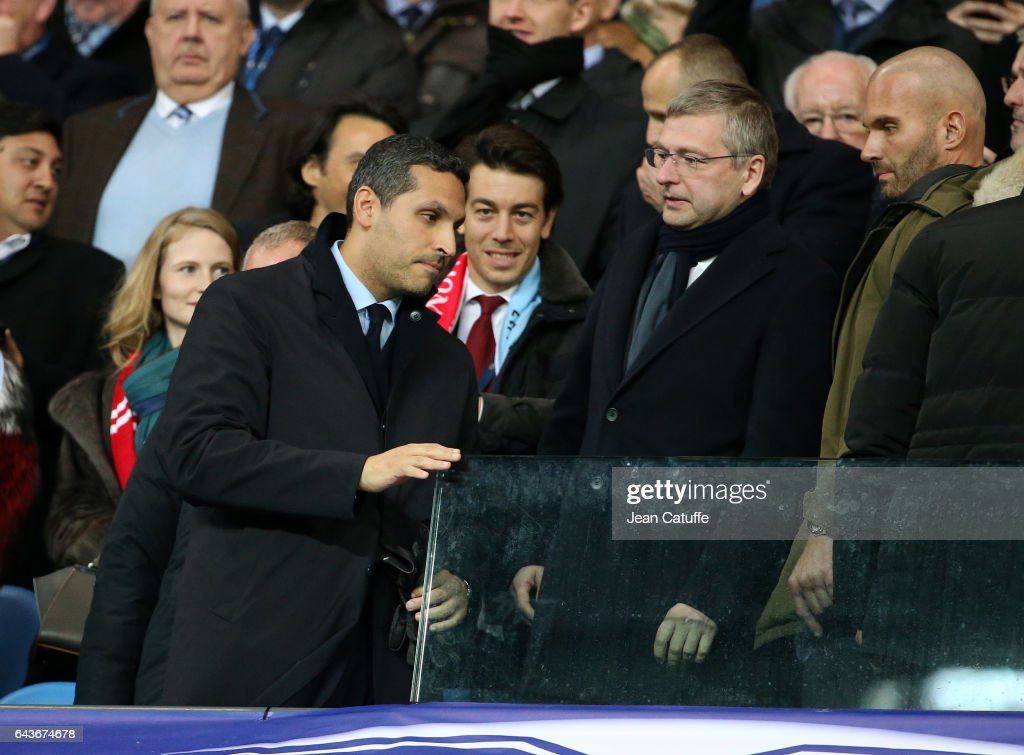 Chairman of Manchester City Khaldoon Al Mubarak and President of AS Monaco Dmitri Rybolovlev attend the UEFA Champions League Round of 16 first leg match between Manchester City FC and AS Monaco at Etihad Stadium on February 21, 2017 in Manchester, United Kingdom.