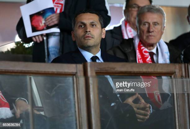 Chairman of Manchester City Khaldoon Al Mubarak looks on during the UEFA Champions League Round of 16 second leg match between AS Monaco and...