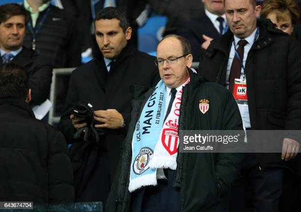 Chairman of Manchester City Khaldoon Al Mubarak Prince Albert II of Monaco attend the UEFA Champions League Round of 16 first leg match between...