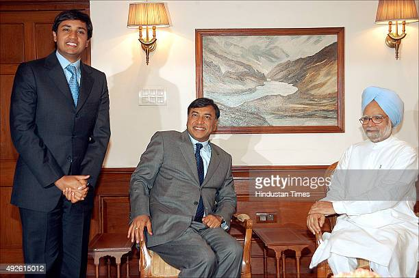 Chairman of Mittal Steel Lakshmi N Mittal and his son Aditya Mittal during his meeting with Prime Minister Manmohan Singh on August 28 2006 in New...