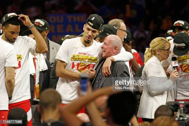 Chairman of MLSE Larry Tanenbaum celebrates with Danny Green of the Toronto Raptors on stage after winning Game Six of the NBA Finals against the...