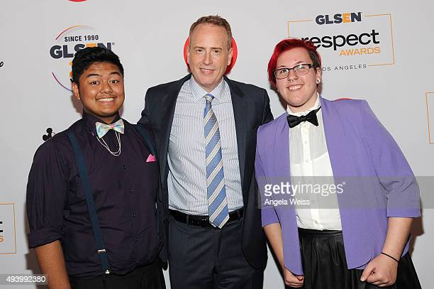 Chairman of NBC Entertainment Bob Greenblatt popses with GLSEN Student Ambassadors Ben Espejo and Olly Kelly during the 2015 GLSEN Respect Awards at...