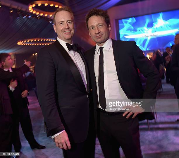 Chairman of NBC Entertainment Robert Bob Greenblatt and actor David Duchovny attend Universal NBC Focus Features and E Entertainment 2015 Golden...