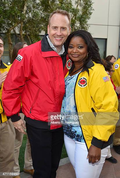Chairman of NBC Entertainment Robert Greenblatt and actress Octavia Spencer attend City Year Los Angeles Spring Break at Sony Studios on April 25...