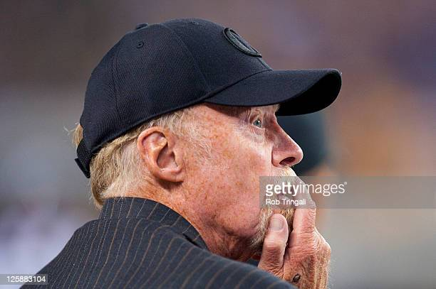 Chairman of Nike Phil Knight looks on during a game between the Oregon Ducks and the LSU Tigers during the Cowboys Classic at Cowboys Stadium on...