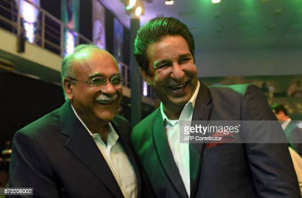 Chairman of Pakistan Cricket Board Najam Sethi and former Pakistani cricket captain Wasim Akram attend the third edition of Pakistan Super League...