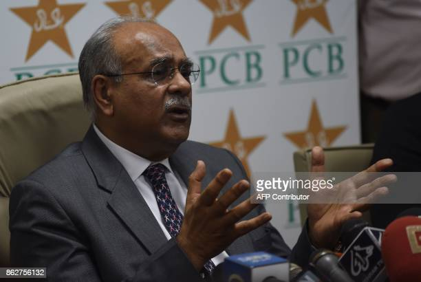 Chairman of Pakistan Cricket Board Najam Sethi gestures as he addresses a news conference at the National Stadium in Karachi on October 18 2017 Sri...