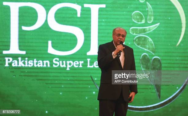Chairman of Pakistan Cricket Board Najam Sethi speaks during the third edition of Pakistan Super League draft in Lahore on November 12 2017 / AFP...