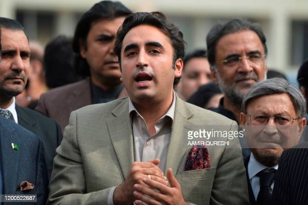 Chairman of Pakistan Peoples Party Bilawal Bhutto speaks to the media after appearing before the National Accountability court in relation to a fake...