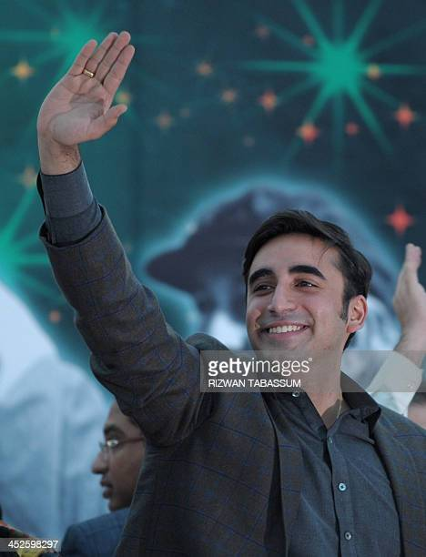 Chairman of Pakistan Peoples Party Bilawal Bhutto Zardari waves to supporters at a rally in Karachi on November 30 2013 Bilawal Bhutto Zardari the...