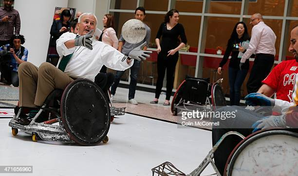 Chairman of PanAm David Peterson participates with the athletes... Launch event held at the CBC on Front St for the 100 days to ParaPan with speakers...
