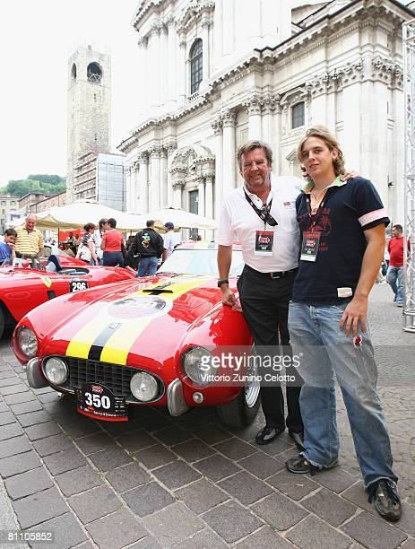 Chairman of Richemont Group Johann Rupert and Anton Rupert attend the Mille Miglia 2008 1000 Mile Historic Race car presentation held at Piazza della...