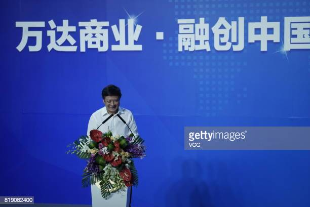 Chairman of Sunac China Holdings Limited Sun Hongbin gives a speech during the signing ceremony for the strategic partnership between Wanda Group,...