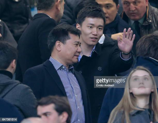 Chairman of Suning holdings group Zhang Jindong and FC Internazionale board member Steven Zhang attend the Serie A match between FC Internazionale...
