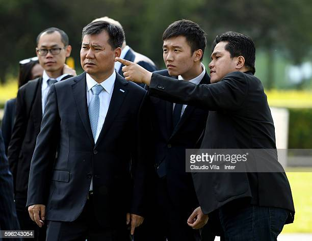 Chairman of Suning holdings group Zhang Jindong FC Internazionale board member Steven Zhang and FC Internazionale President Erick Thohir chat during...