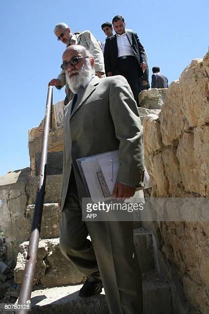 Chairman of Tehran's city council Mehdi Chamran visits the ruins of the former Israelirun prison of Khiam on the LebaneseIsraeli border on April 19...