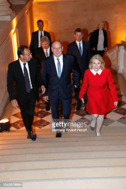Chairman of the 2018 Ryder Cup France Commission Pascal Grizot Prince Albert II de Monaco and President of Castle of Versailles Catherine Pegard...
