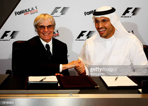 Chairman of the Abu Dhabi Executive Affairs HE Khaldoon Al Mubarak signs a deal with F1 Boss Bernie Ecclestone which will see Abu Dhabi host a...