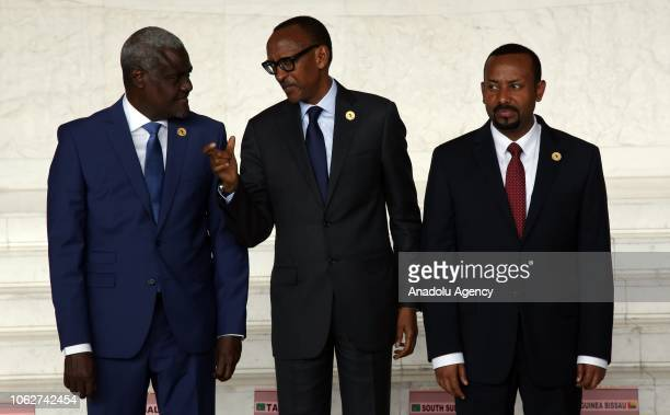 Chairman of the African Union Commission Moussa Faki Rwandan President Paul Kagame and Ethiopian Prime Minister Abiy Ahmed are seen together ahead of...