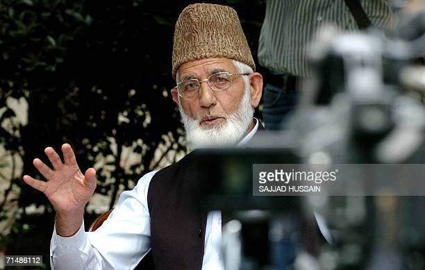 Chairman of the All Parties Hurriyat Conference, , Syed Ali Geelani addresses a press conference in Srinagar, 20 July 2006. Geelani called for...