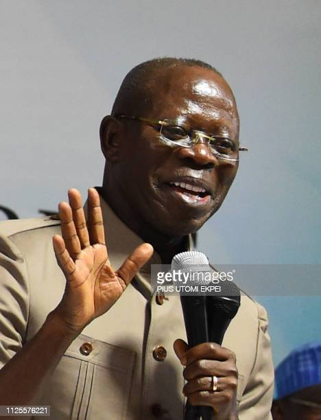 Chairman of the All Progressives Congress Adams Oshiomhole speaks during the party caucus emergency meeting on the postponed general elections in...