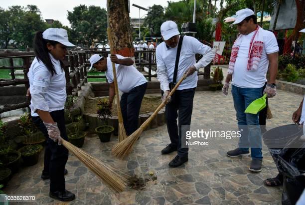Chairman of the Assam Tourism Development Corporation Jayanta Malla Baruah participates in a cleanliness drive under Swachhta hi Seva in Guwahati...