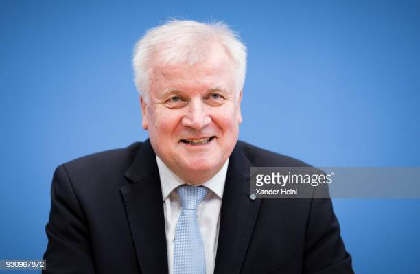 Chairman of the Bavarian Christian Democrats Horst Seehofer speaks at a press conference on March 12 2018 in Berlin Germany Topic is the coalition...
