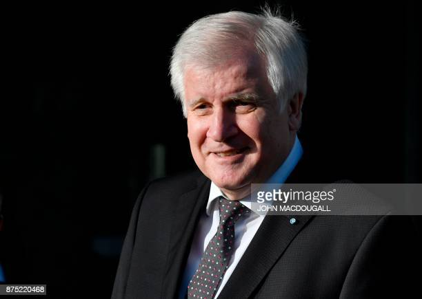 Chairman of the Bavarian Christian Social Union party Horst Seehofer arrives at the CDU's headquarters for further exploratory talks with members of...
