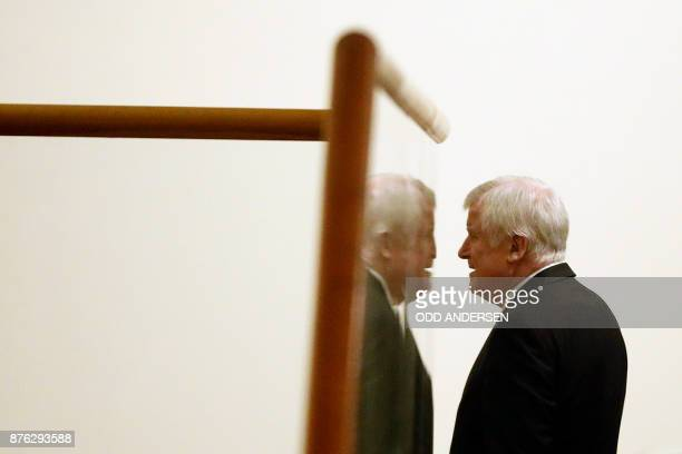 Chairman of the Bavarian Christian Social Union party Horst Seehofer is seen during a break in exploratory talks with members of potential coalition...