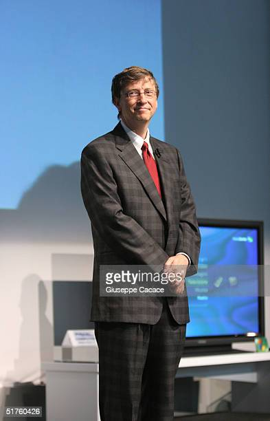 Chairman of the Board and Chief Software Architect of Microsoft Bill Gates attends the opening ceremony of the Futurshow November 18 2004 in Milan...