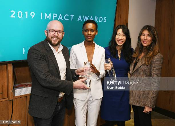 Chairman of the Board for CALSO Community Brian Walsh Flaviana Matata and Nina Garcia present Steph Speirs with both Impact Awards during ELLE INCO...