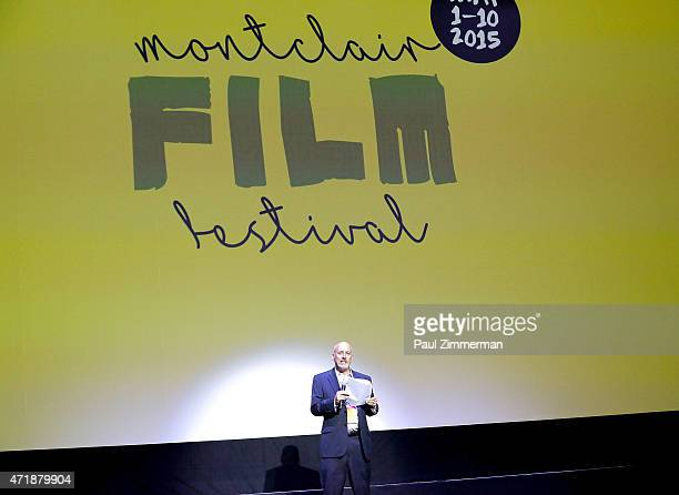 Chairman of the Board MFF Bob Feinberg speaks at the 2015 Monclair Film Festival Opening Night Film 'Hello My Name Is Doris at the Wellmont Theatre...
