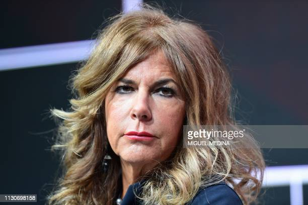 Chairman of the Board of Italian multinational oil and gas company ENI Emma Marcegaglia attends a press conference following the presentation of the...