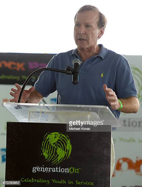 Chairman of the Board of Points of Light Neil Bush speaks at the Points of Light generationOn Block Party on April 18 2015 in Los Angeles California