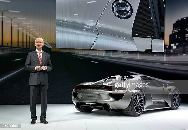 Chairman of the board of Porsche AG Matthias Mueller presents the new Porsche 918 Spyder during the press day at the international motor show IAA on...