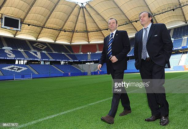 Chairman of the board of the Hamburger SV, Bernd Hoffmann , and UEFA president Michel Platini tour the HSH Nordbank Arena on the day of the UEFA...